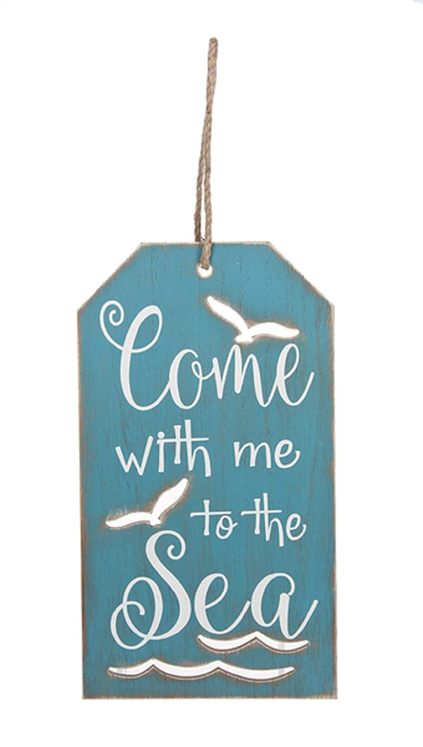 Ganz Come with me to The Sea Blue Tag Plaque