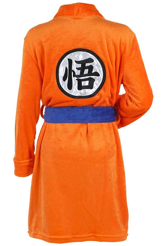 Anime Cosplay Son Goku disfraz Adultos Naranja Flannela Plush Pijama con Bolsillo and Azul Cinturon Pajama