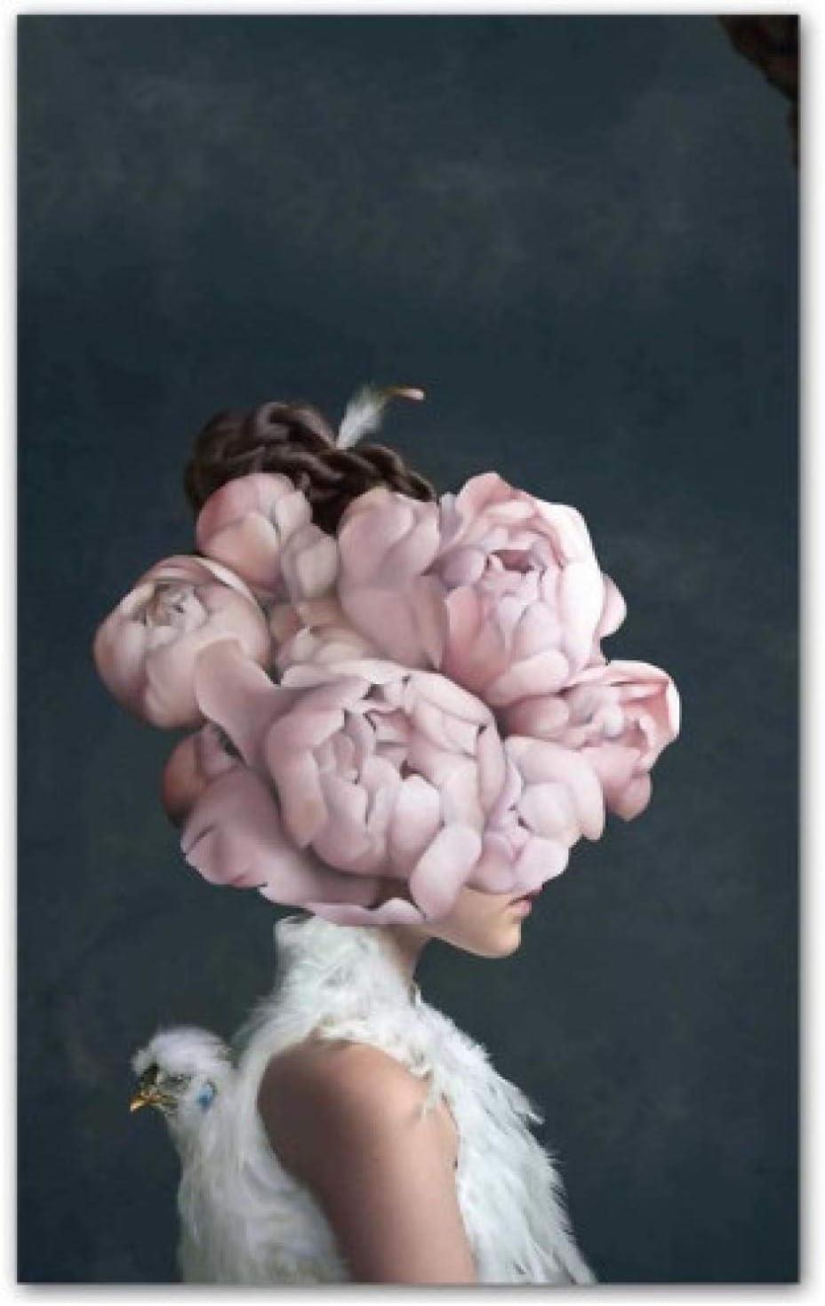 Yzqxiongtu Imagen Mural Sala de Estar Decoración del hogar, póster nórdico Cuadro en Lienzo, Flores Mariposa Mujer Pintura al óleo 30X50Cm