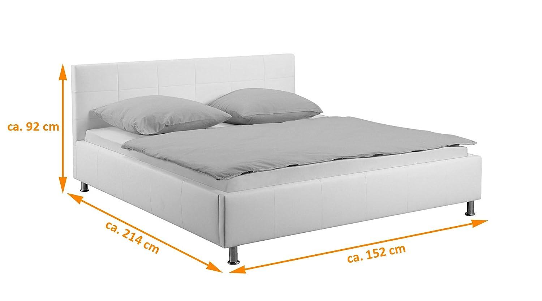 Kunstleder stilvolle Chromf/ü/ße als Wasserbett geeignet abgestepptes Kopfteil grau SAM Polsterbett 100x200 cm Katja