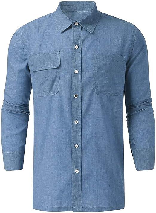 ACEBABY Camisas Hombre Manga Larga Moda Color Sólido Camiseta ...