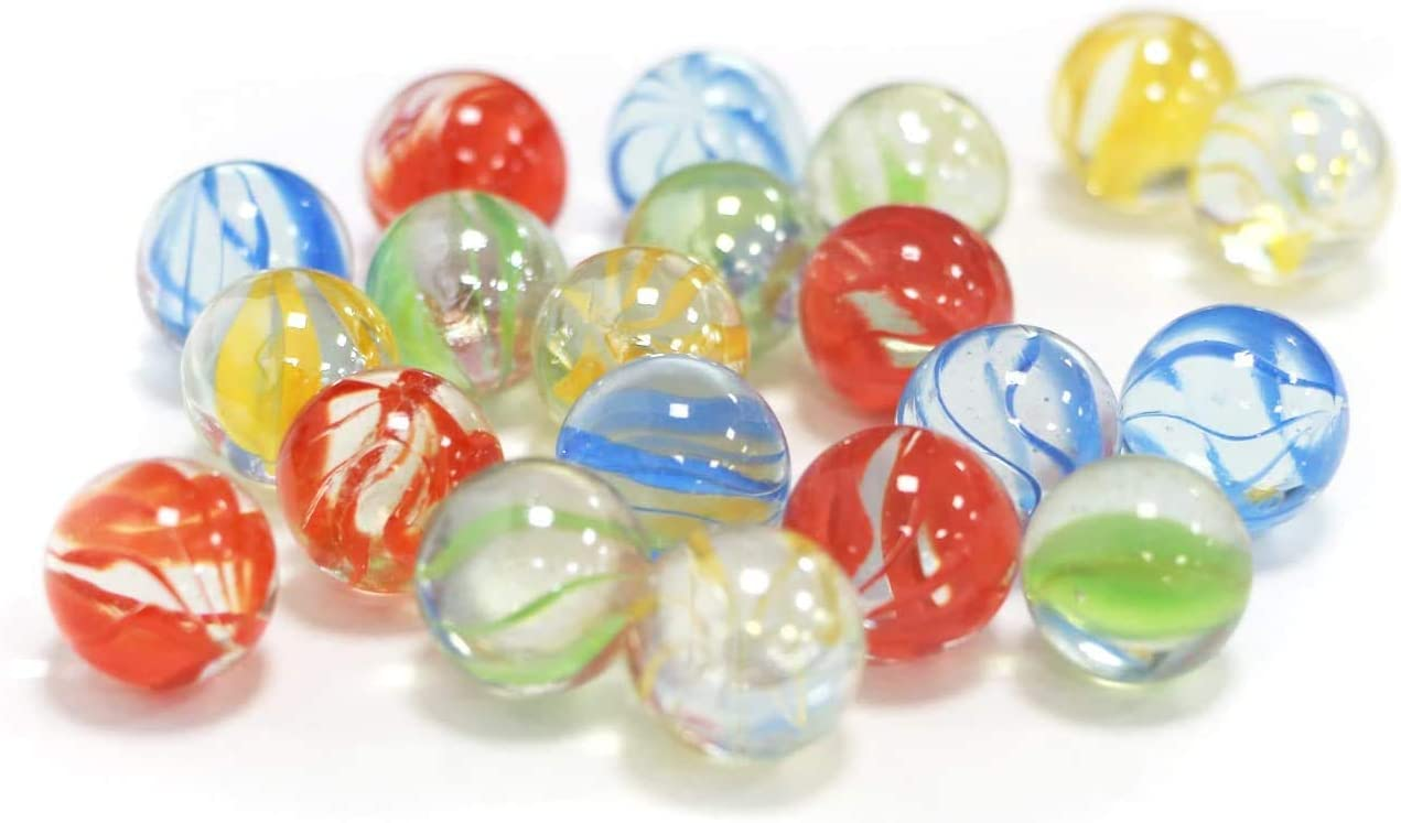 20 Pcs Marbles,5//8 Inch Colorful Glass Marbles,Use for Stocking Stuffers,Easter Baskets,Birthday Presents,Childrens Gifts,Home Decor,Yellow /& Red /& Green /& Blue