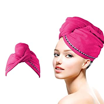 fab97ed9a35 Amazon.com : SISIMOM Microfiber Hair Drying Towels Wrap Turban, Fast Drying  Hair Cap, Bath Shower Head Towel with Buttons, Super Water-absorbent-Rose  Red : ...