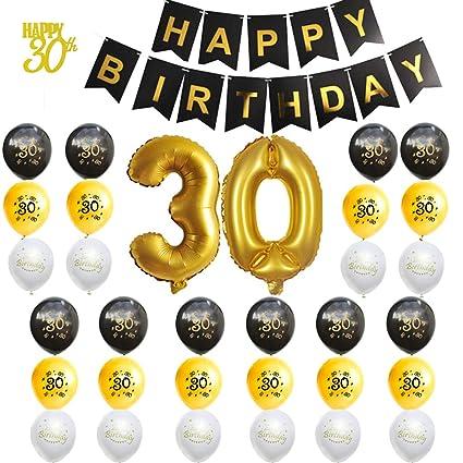 Amycute 46 pcs Globos 30 Años de Cumpleaños Globos de ...