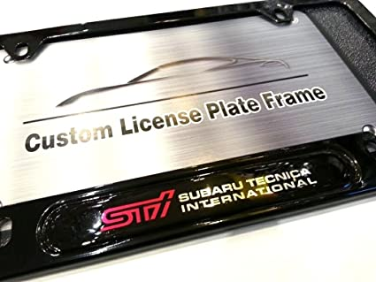Amazon.com: STI SUBARU Logo Emblem Modern GLOSS BLACK Finish License ...