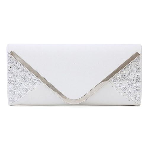 Damara Femme Sac De Soirée Forme Enveloppe Pailletté Mariage,Blanc