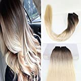 Cheap BeautyMiss 22″ 40Pcs/100g Remy Hair Tape in Hair Extensions Color #3 Chocolate Brown Fading to #8 Ash Brown #613 Bleach Blonde Dip Dye Balayage Ombre Hair Extension tape in Extensions