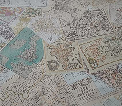 Amazon.com: World Map Fabric Linen Print by the Yard (59 inches)