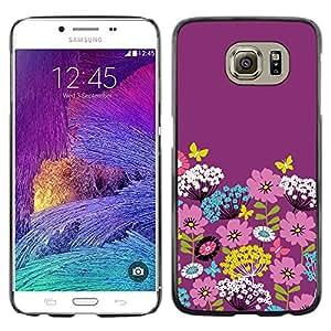 iKiki Tech / Estuche rígido - Teal White Flowers Stylistic - Samsung Galaxy S6 SM-G920