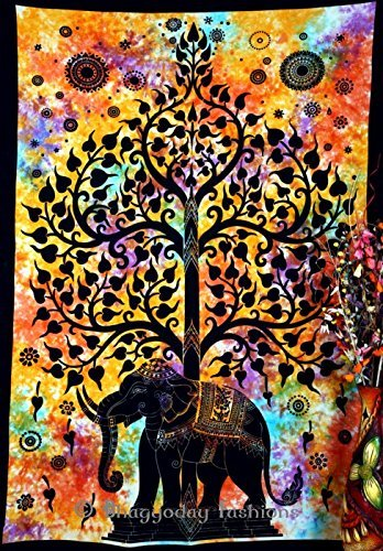 - Indian Psychedelic Celestial Elephant Tree Tapestry ,Good Luck Hand Tie Dye Elephant Tapestry , Hippie Gypsy Wall Hanging , Bhoemain Bed Spread Tapestries , New Age Dorm Tapestry, Twin 54x86 By Bhagyoday