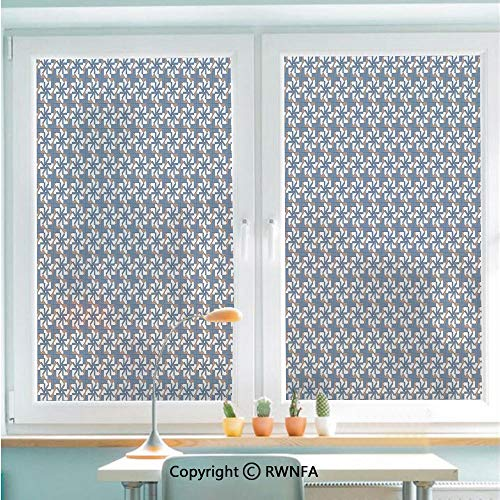 Floral Fusion Square (RWNFA Decorative Window Films Kitchen Glass Sticker Abstract Composition Graphic Floral Motifs with Squares Pattern Waterproof Anti-UV for Home and Office 22.8