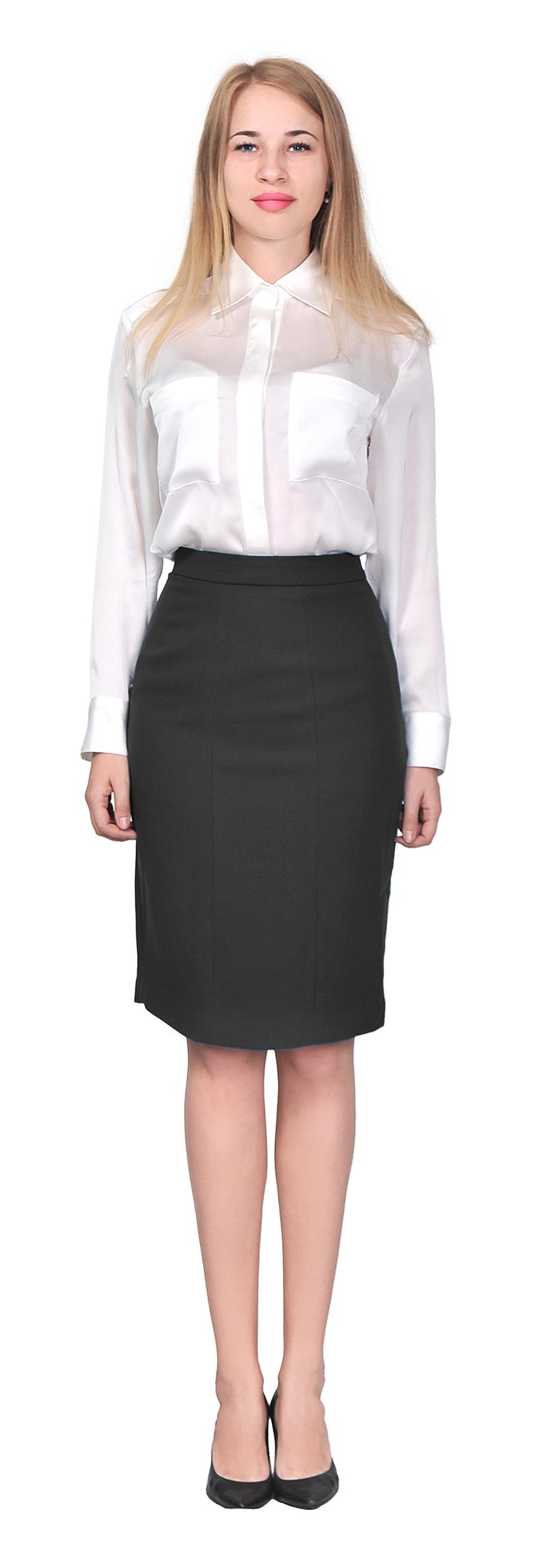 Marycrafts Women's Lined Pencil Skirt 4 Work Business Office 2 black by Marycrafts (Image #3)
