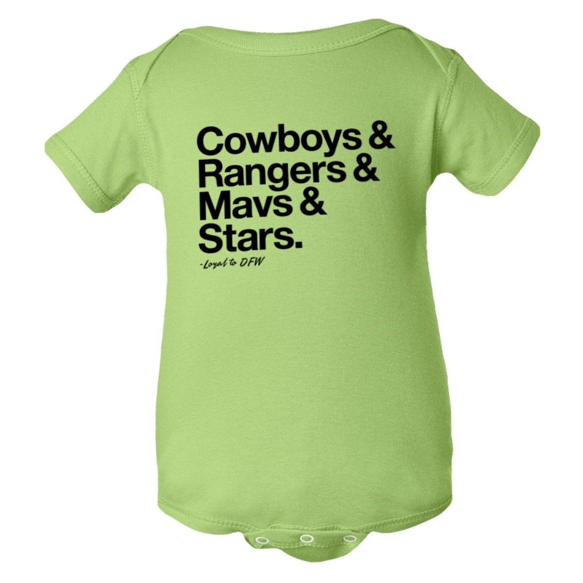 Baby Creeper Loyal Cowboys Rangers Mavericks Stars Sports 1Pc Onsie
