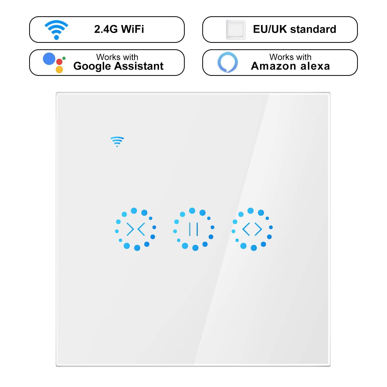 Konesky Smart Curtain Switch Switch Wifi sans fil Stores é lectriques Switch Minuterie Commutateur mural Touch Control avec Alexa Accueil Google (Type 2)