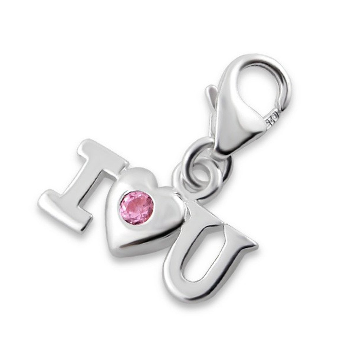 Small I Love You Charm Lobster Clasp Sterling Silver 925 with Pink CZ (E12402)