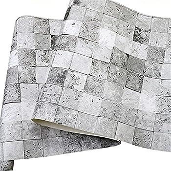 Shell Vintage Brick Block Stone Square Gray Marble Wallpaper PVC Waterproof Clothing Store Restaurant bar Culture Stone Wallpaper (0.5310m)