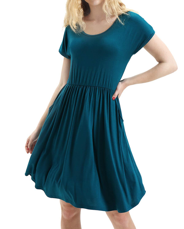 deesdail Midi Dresses for Women with Pockets, Ladies Round Neck Short Sleeve Elegant Dress Flowy Hem Long Tunic Knee Length Shirts Dark Cyan M