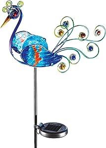 Solar LED Peacock Metal Garden Stake