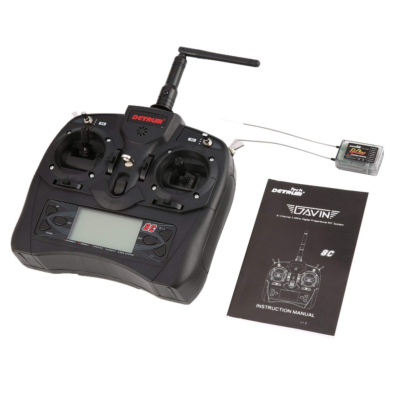 Liobaba Detrum GAVIN-8C 2.4G DSSS FHSS 8 Channels Remote Control RXC8 Fixed Wing Meteorite Stabilization Receiver DTM-T007