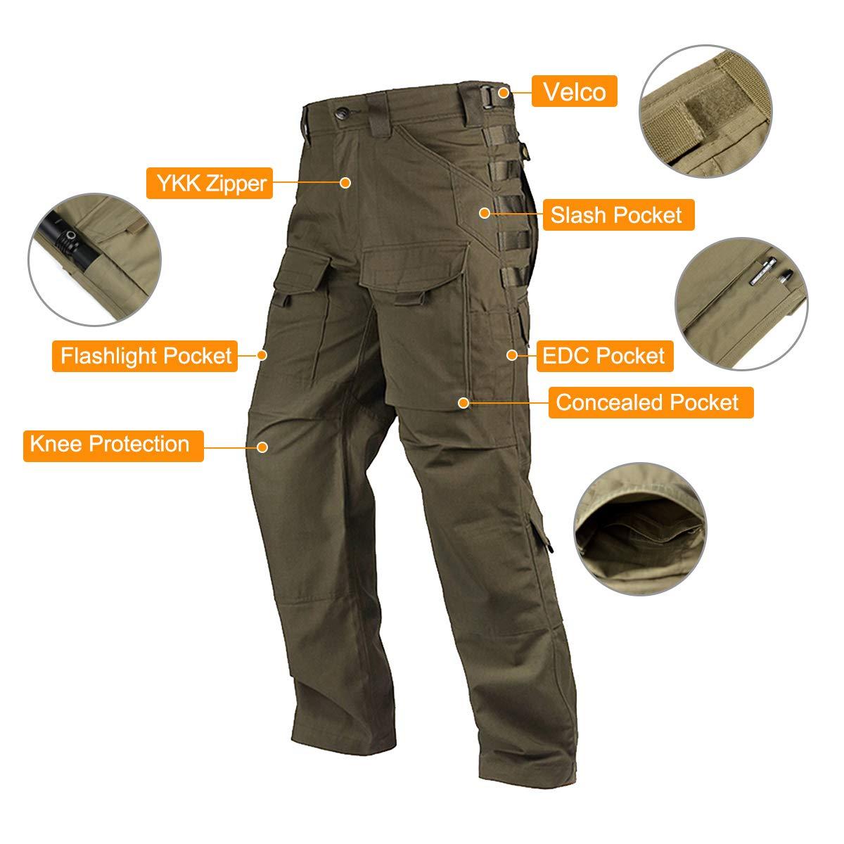 a7027eed0b9b Amazon.com   FREE SOLDIER Outdoor Men Teflon Scratch-Resistant Pants Four  Seasons Hiking Climbing Tactical Trousers(Dark Green 36W 31.5L)   Sports    ...
