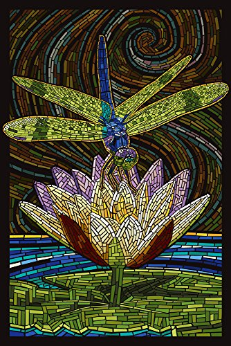 Dragonfly - Paper Mosaic (9x12 Art Print, Wall Decor Travel Poster) (Fly Dragon Prints)