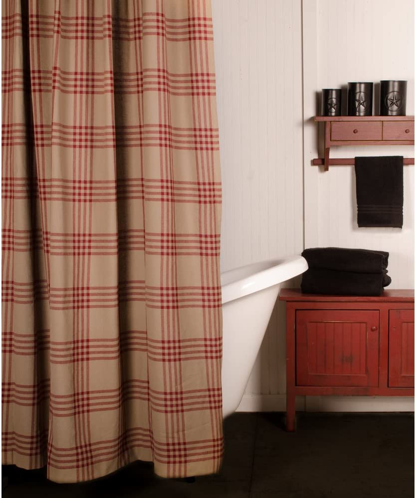 Home Collections by Raghu Oat Chesterfield Check Barn Red Shower Curtain
