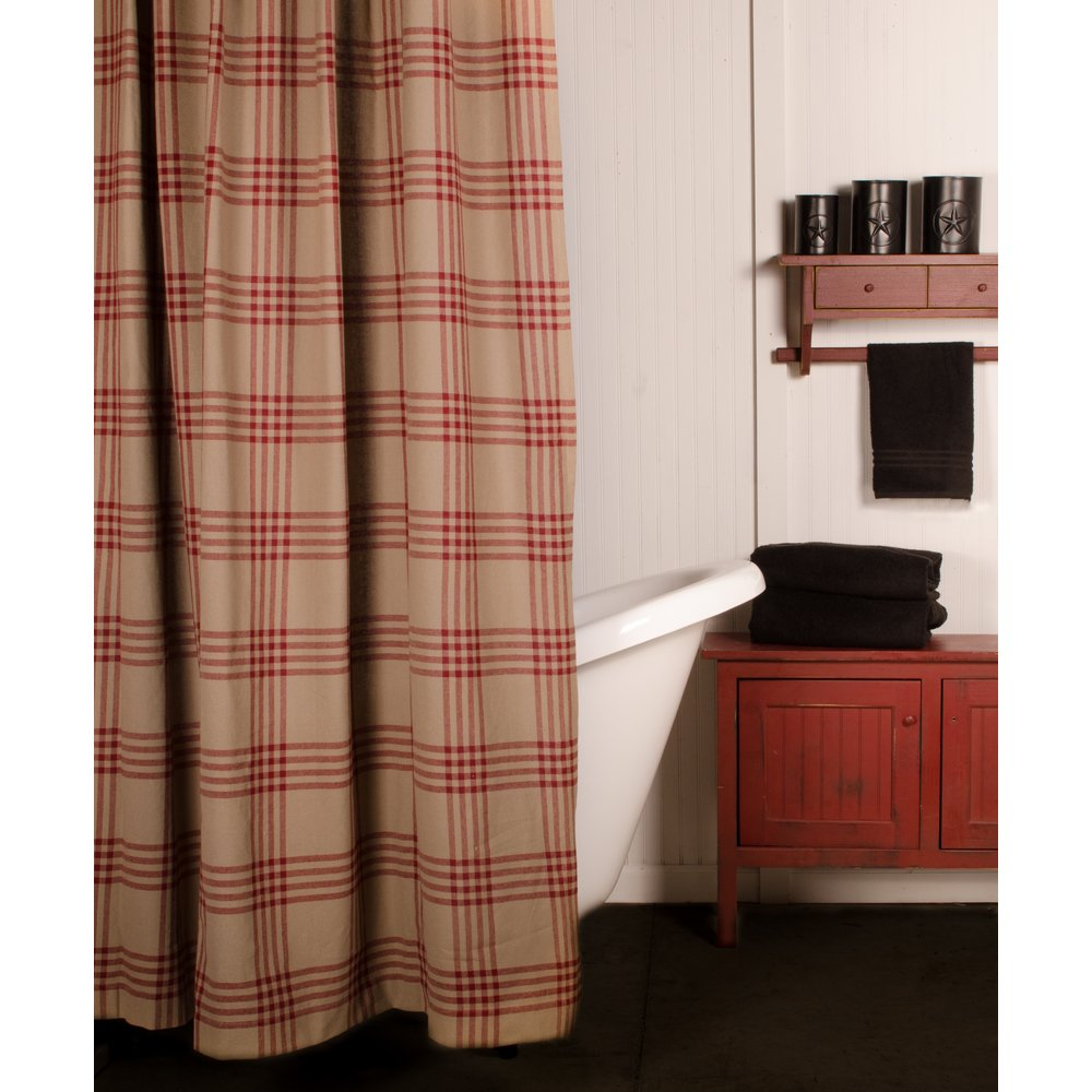 Home Collections by Raghu Chesterfield Check Shower Curtain Oat-Barn Red