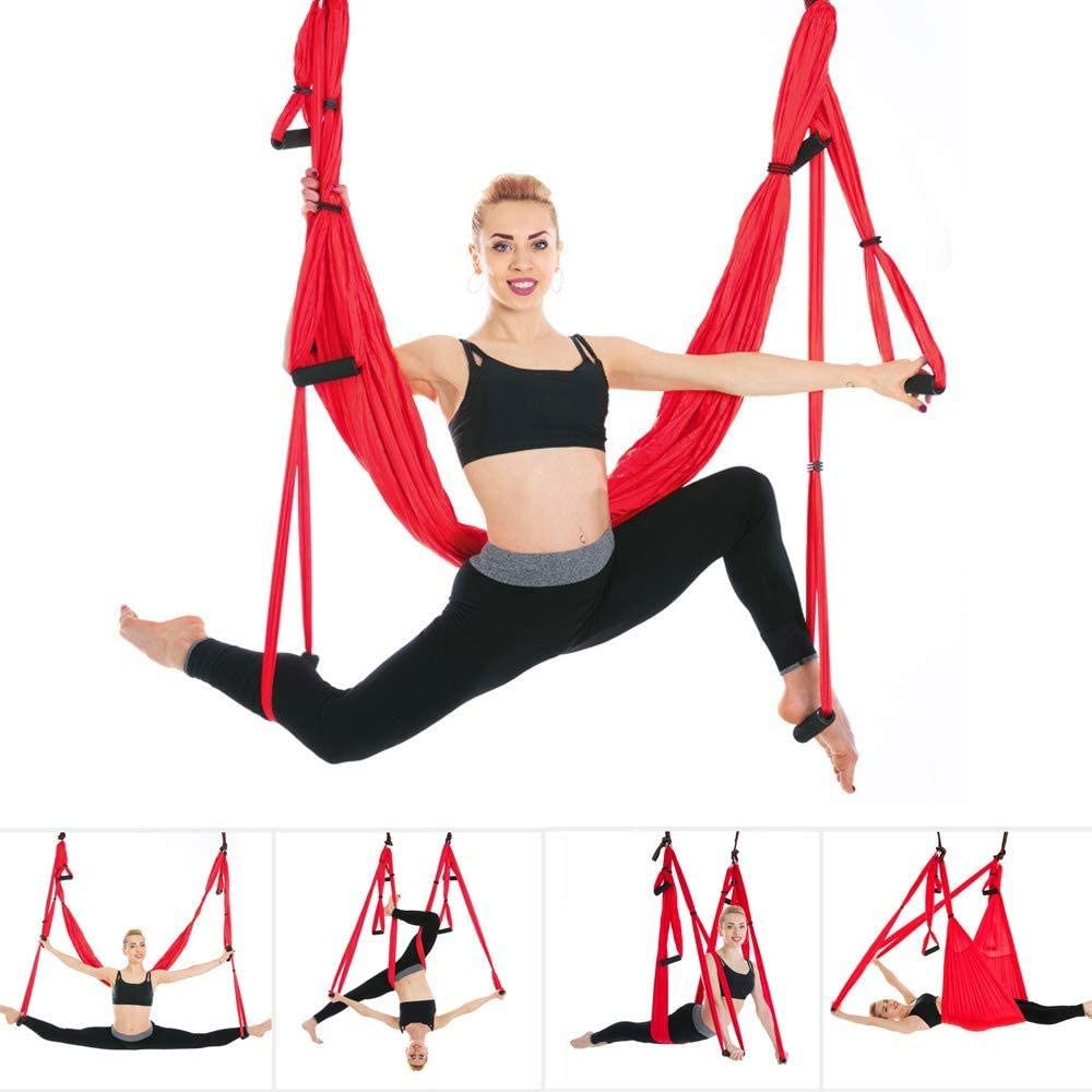 Inversion Exercises JIALFA Aerial Yoga Hammock Set,Premium Aerial Silk Yoga Swing for Antigravity Yoga Mounting Accessories Included Improved Flexibility /& Core Strength