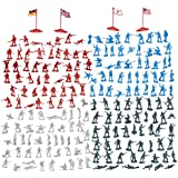 200-Piece Military Figures Set - Toy Army Soldiers in 4 Colors, World War II Playset with 4 Flags