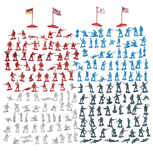 Toy Soldiers (200-Piece Military Figures Set - Toy Soldiers Army in 4 Colors, World War II Minifigures Play Set with 4 Flags, America, England, Germany and Japan)