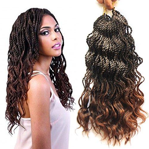 Wavy Senegalese Twist Crochet Hair Braids Wavy Ends Free Synthetic Hair Extensions Kanekalon Braiding Hair Havana Mombo Dreadlocks (18 Inch, T1B/30#,3Packs) (Wet And Wavy Braiding Hair For Sale)