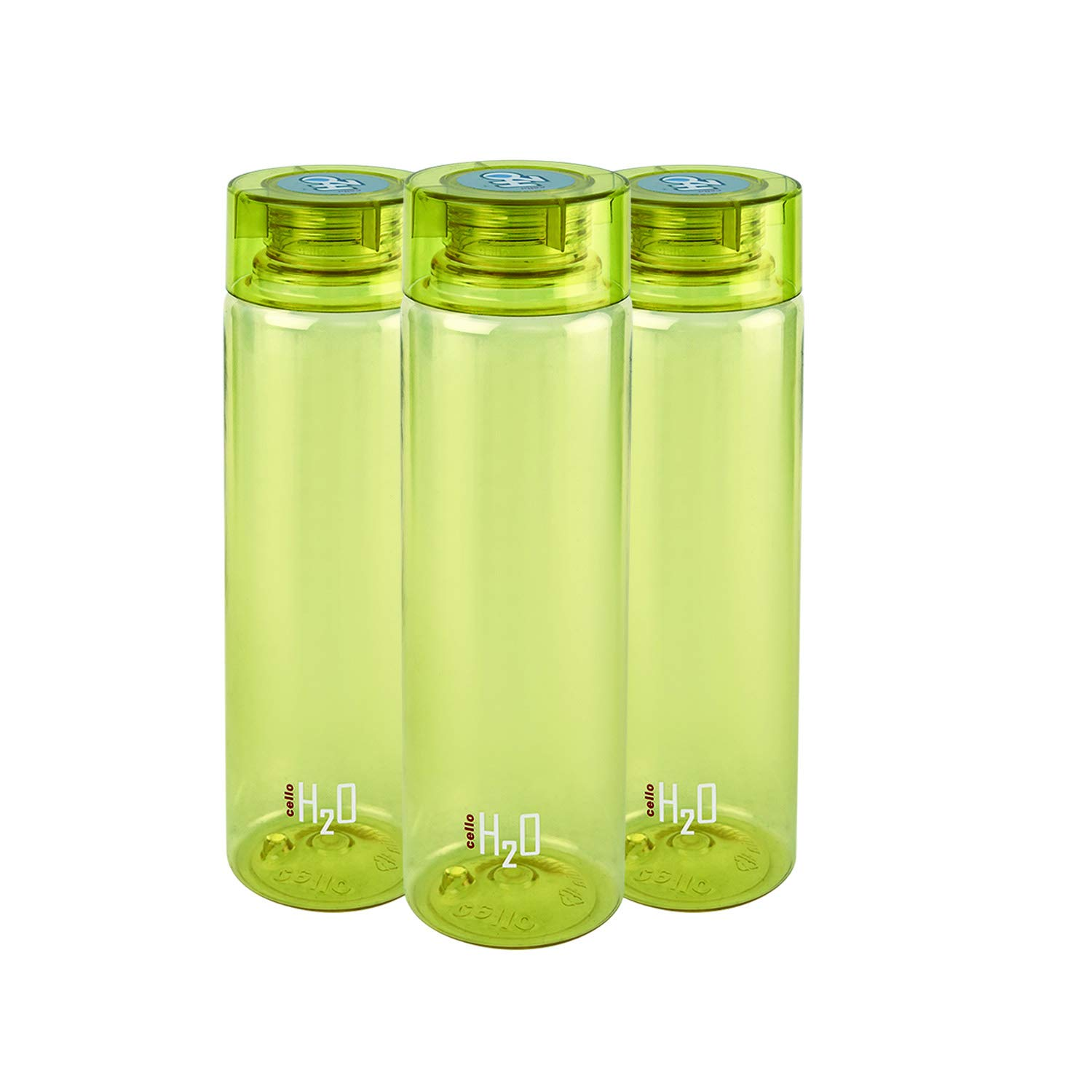 Cello H2O Round Plastic Water Bottle, 750ml, Set of 3, Olive Green