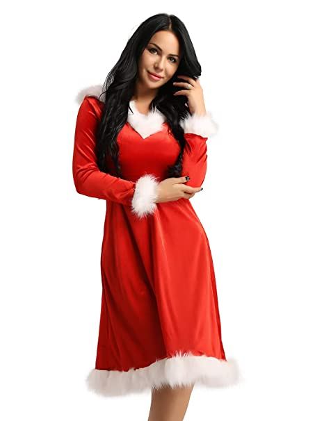 909c99dd85b FEESHOW Women Mrs. Claus Costume Christmas Role Play Outfits Hooded Dress  Red Small