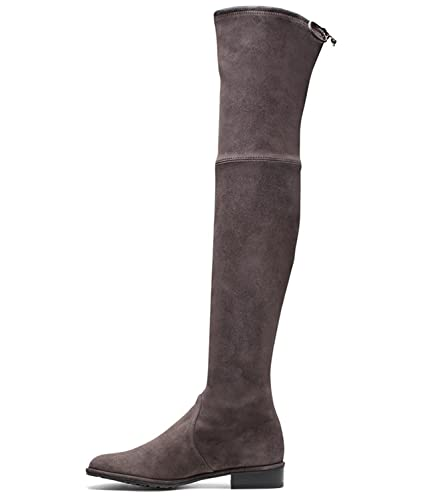c2926ae232e Jushee Knee High Boots for Women Round Toe Thigh High Over The Knee Boots  Stretch Suede