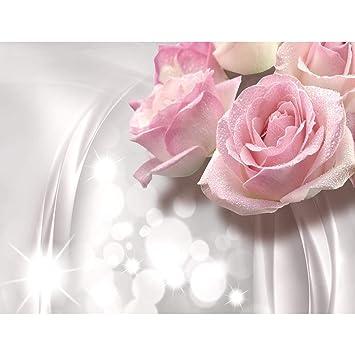 GroBartig Fototapete Blumen 3D Rose Grau Vlies Wand Tapete Wohnzimmer Schlafzimmer  Büro Flur Dekoration Wandbilder XXL Moderne