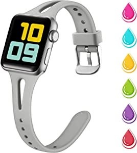 Nofeda Slim Band Compatible with Apple Watch 40mm 38mm, Soft Silicone Breathable Narrow Thin Sport Bands Replacement for iWatch Series 5 4 3 2 1, Sport Edition Women Men, S/M, Slate Gray