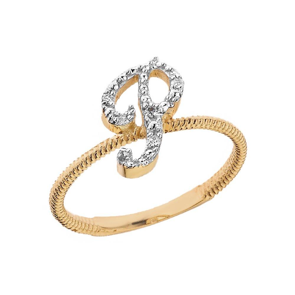 P Letter Images.Amazon Com Women S 14k Yellow Gold Diamond Script Initial
