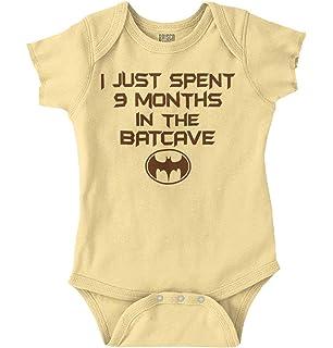 09dc4efe4 Brisco Brands 9 Months Batcave Funny Comic Book Hero Baby Romper Bodysuit
