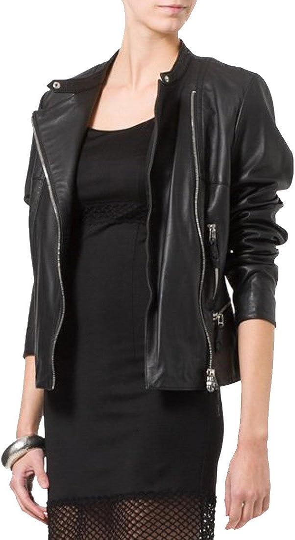 New Women Motorcycle Black Lambskin Leather Jacket Coat Size XS S M L XL WN094