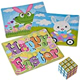 Prextex 3 Piece Easter Glittered Cardboard Puzzles Set - With Easter Puzzle Cube