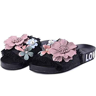 b61036a4ab9af6 Flip Flops Sandals for Womens Pool Summer Beach Slippers with Flower  Pattern Floral Design Girls Wear