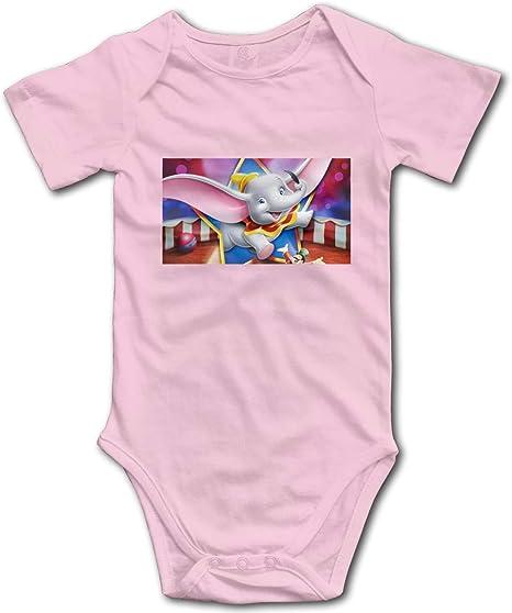 Cute Animal Dumbo Elephant Simple Cute Toddler Baby Onesies Cotton Short Sleeve Bodysuit for Unisex