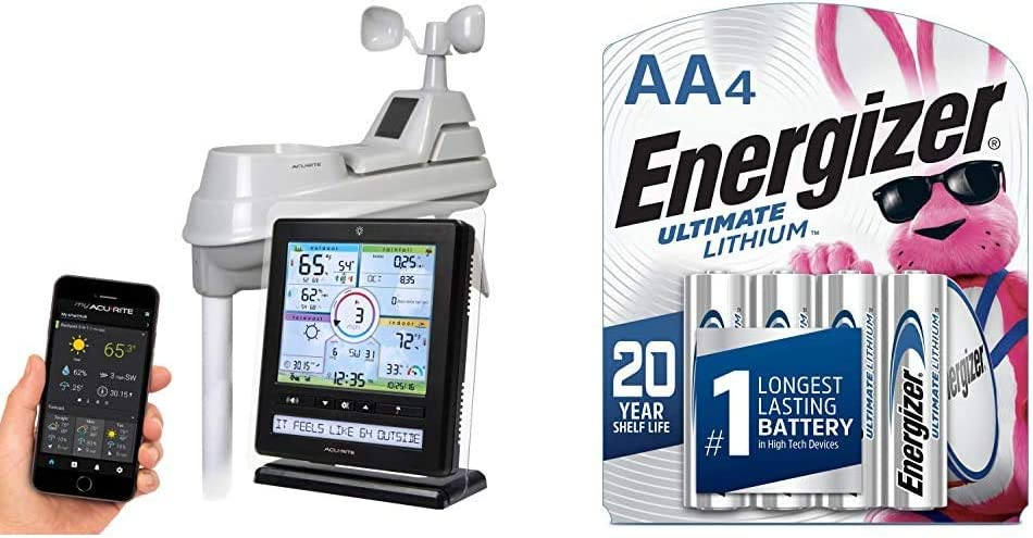 AcuRite Wireless Home Station (01536) with 5-1 Sensor and Android iPhone Weather Monitoring & Energizer L91SBP-4 AA Batteries Ultimate Lithium (4 Count)