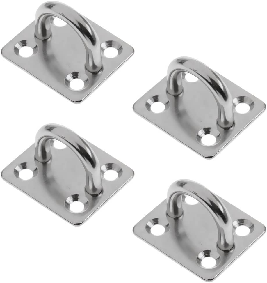 YiMusic 4 Pieces Heavy Duty 304 Stainless Steel Square Pad Eye Plate suit for Kayaking Boat Water Sports Marine Deck Hardware Accessories