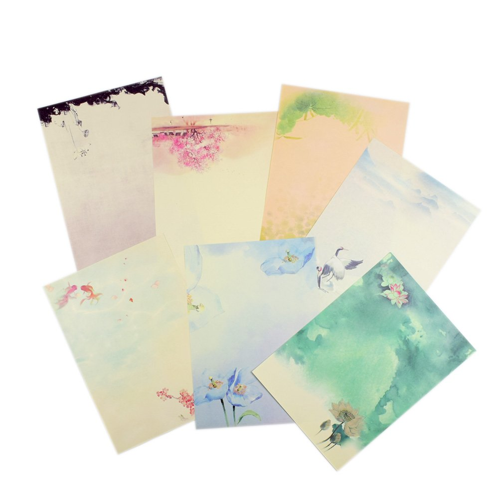 Ziye Shop 56pcs Vintage Retro Design Writing Stationery Paper Pad Letter Set, 7 Different Style