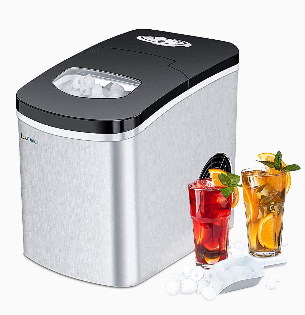 Litboos Portable Ice Maker Machine For Countertop 9 Bullet Ice Cube Ready In 7 9 Mins 26 Lbs 24h Production Electric Icemaker With Scoop And Basket Stainless Steel Appliances