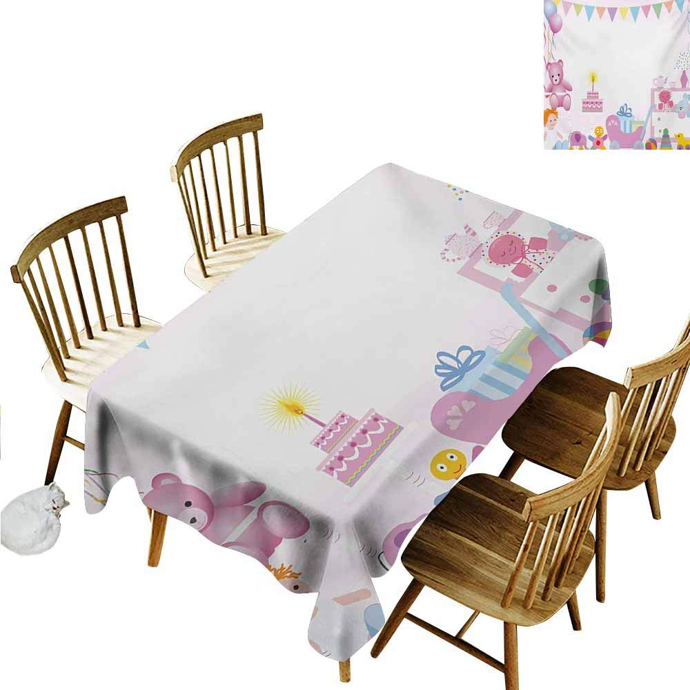 Tablecloth for Kids/Childrens,Kids Birthday Baby Girl Birthday Celebration Party with Flags and Bears Cute Toys Print,Dinner Picnic Table Cloth Home Decoration,W60x120L,Pale Pink by TT.HOME (Image #2)