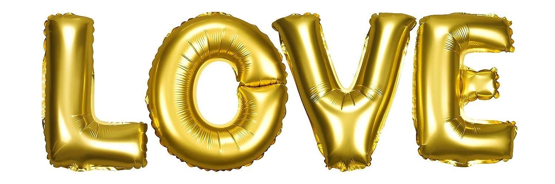 DekoRex® 'Love Amor Letras Globos Papel Brillante Decoración para Aire y Hoja 40cm en Oro