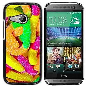Caucho caso de Shell duro de la cubierta de accesorios de protección BY RAYDREAMMM - HTC ONE MINI 2 / M8 MINI - Rubber Candy Colorful Sugar Sweets Neon
