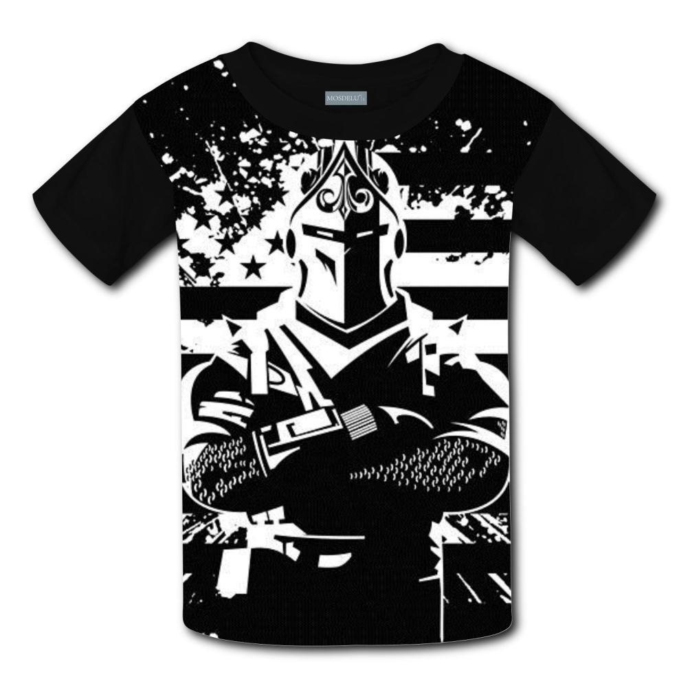 Unisex Youth 3D Fortnite Dark Warrior 3D Printing T- Shirts Short Sleeve Kids Tee S